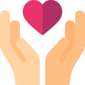 An icon of a hand holding a heart to symbolize the need for life insurance