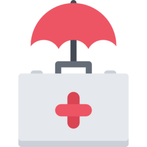 An icon of a medkit and an umbrella to symbolize the need for life insurance